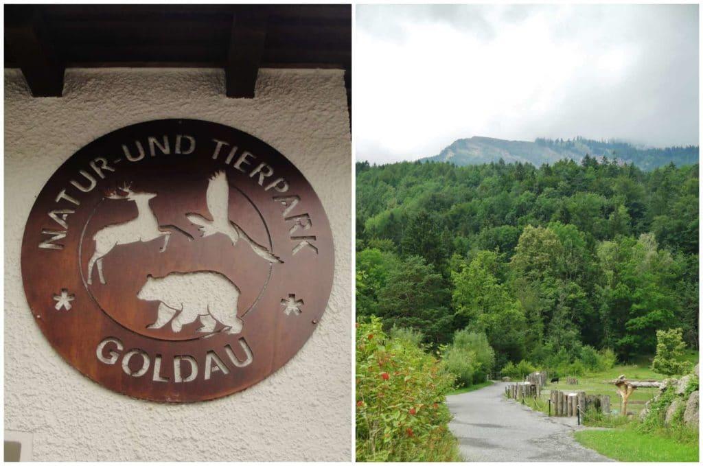 Insegna all'ingresso del parco Goldau e paesaggio circostante