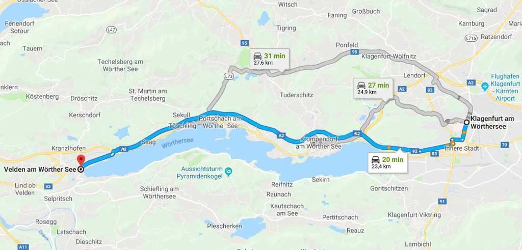 Il tragitto da Klagenfurt a Velden am Wörthersee