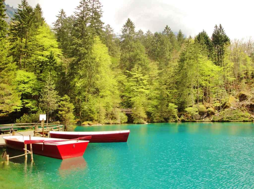 Il lago blu Blausee in Svizzera nella natura