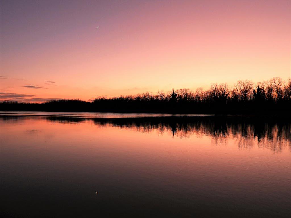 La Riserva dell'Isola della Cona al tramonto